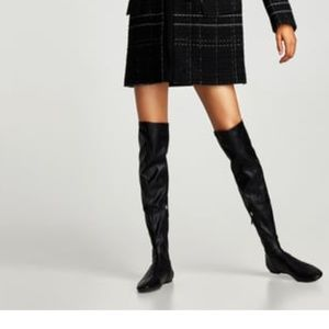 ZARA Over-the knee Stretch Boots:Black,US7.5/EUR38